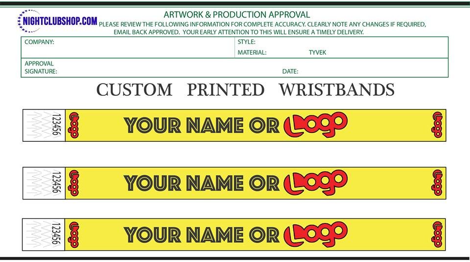 graphic relating to Printable Tyvek Wristbands called Personalize YOUR Individual TYVEK WRISTBANDS BLACK INK